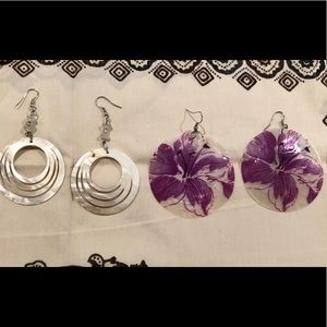 Jewelry - 2 pairs of Fun thin shell earrings